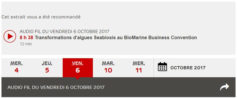 Transformations d'algues, Transformations d'algues Seabiosis au BioMarine Business Convention