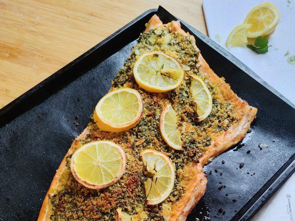 Saumon au Pesto de Kombu et citron