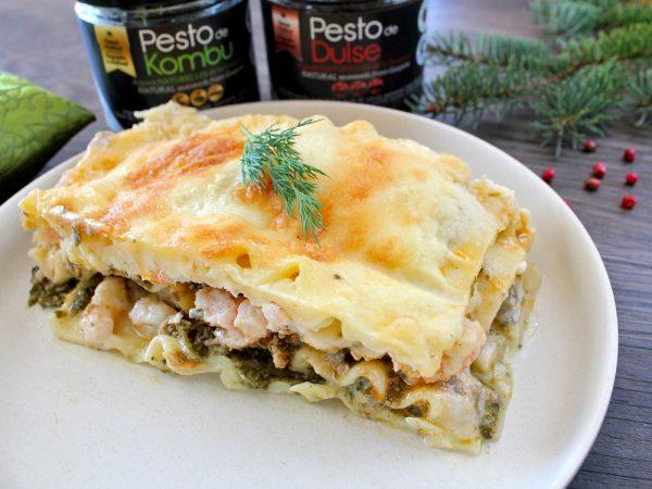 Lasagne aux fruits de mer et deux pesto