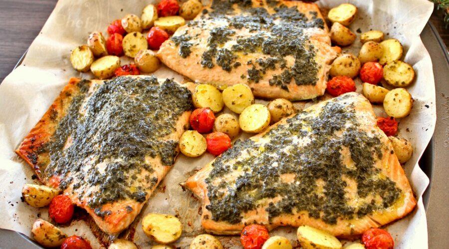 Saumon et légumes à la plaque