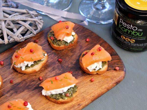Bouchées de saumon fumé, fromage de chèvre et Pesto de Kombu