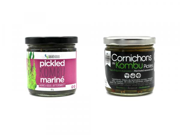 Gamme d'algues marinées de Seabiosis, type pickles